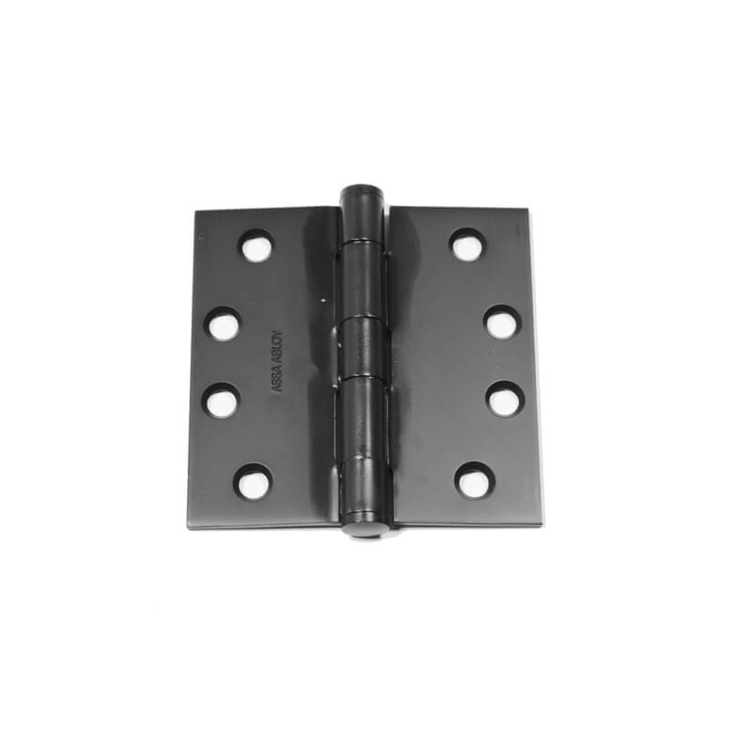 Closeup of Butt Hinge with black powder coating.