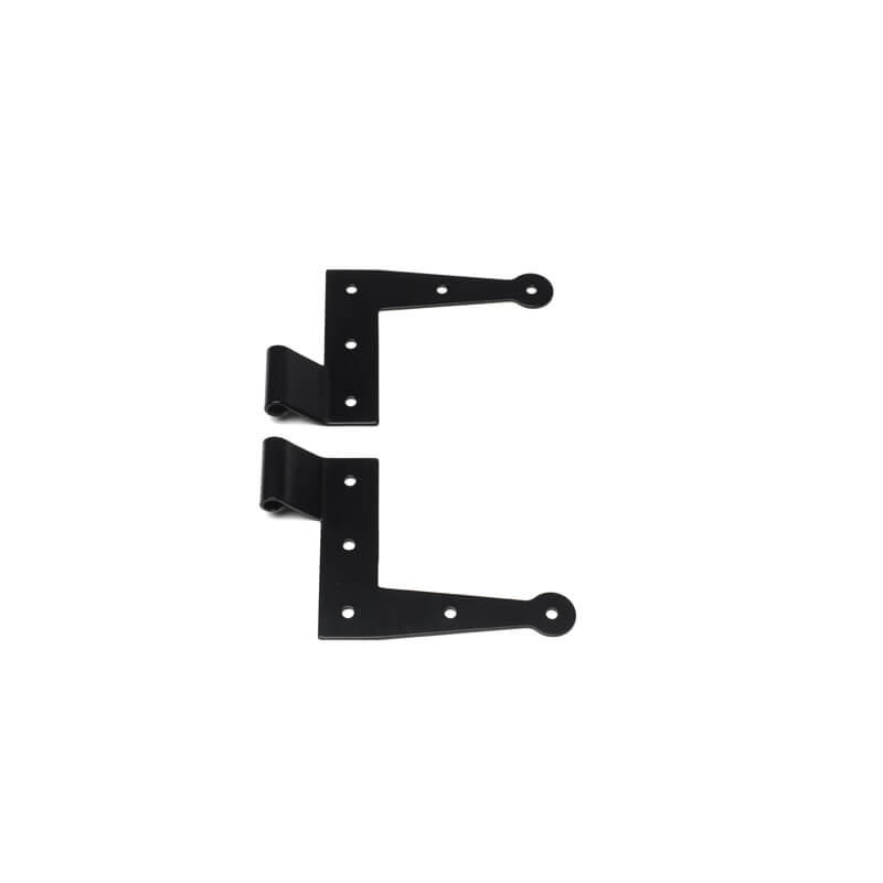 Closeup of Stainless Steel Standard Duty New York Style L Hinges with black powder coating.