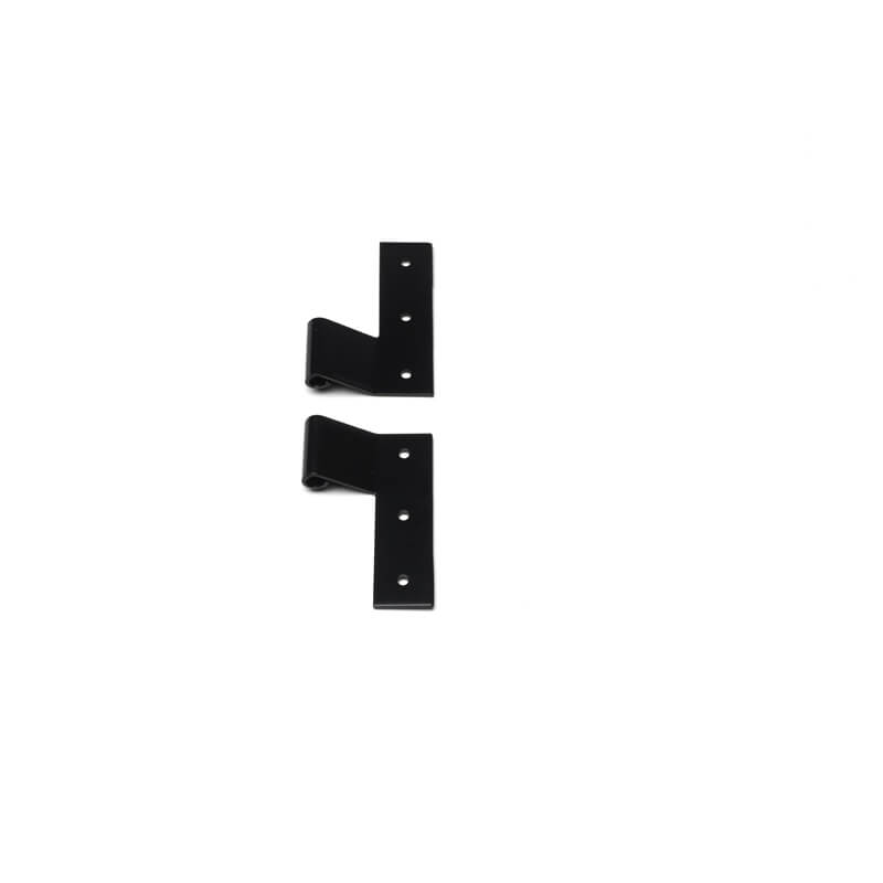 Closeup of Stainless Steel Standard Duty Strap Hinge with black powder coating.