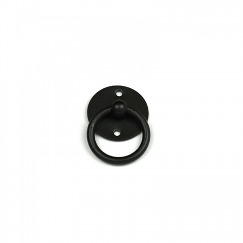 Closeup of European Pull Ring with black powder coating.