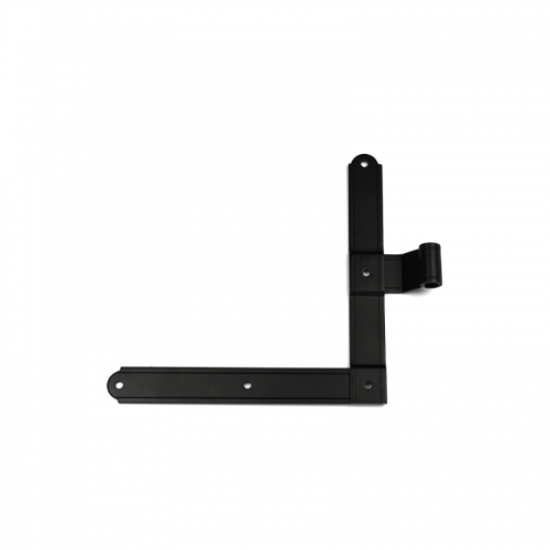Closeup of European L Hinge with black powder coating.