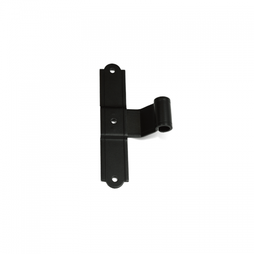 Closeup of European T Hinge with black powder coating.