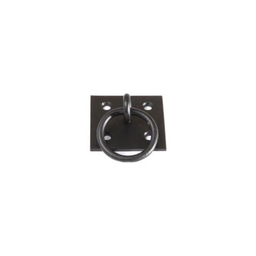 Closeup of Plate Mount Pull Ring with black powder coating.