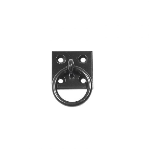 Closeup of Stainless Steel Plate Mount Pull Ring with black powder coating.