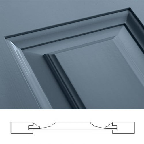 Close-up and cross-section image of blue, panel shutter profile design CB1, a raised panel shutter.