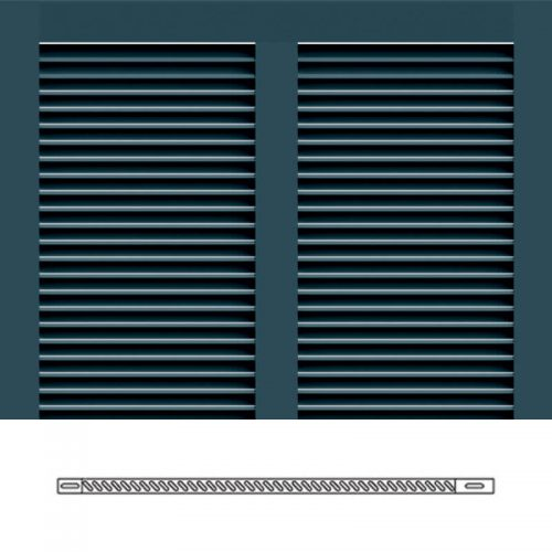 Close-up and cross-section images of blue Bermuda shutter profile design BS1, a 2 section Bermuda shutter.
