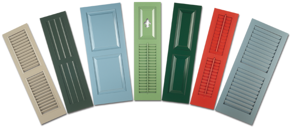 Closeup photo of wooden exterior shutters in tan, green, blue, red and grey colors.