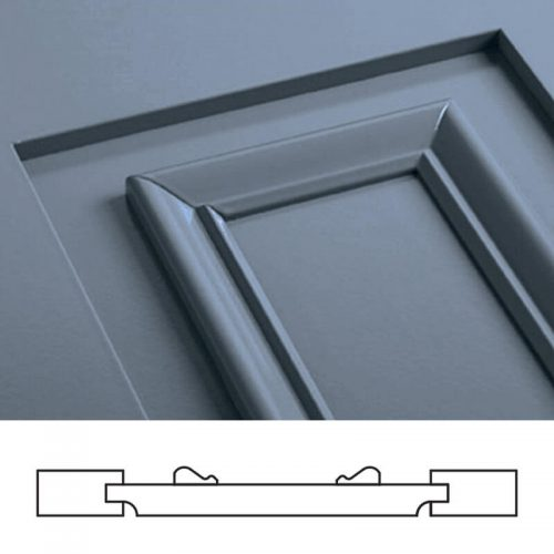Close-up and cross-section image of blue, panel shutter profile design FP7, a flat panel shutter.