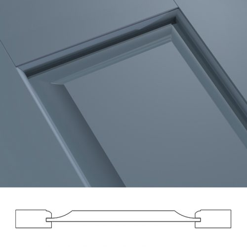 Close-up and cross-section image of blue, panel shutter profile design FUP, a raised panel shutter.