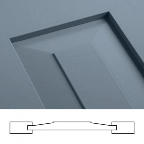 Close-up and cross-section image of blue, panel shutter profile design SH1, a shaker panel shutter.