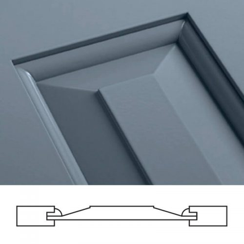 Close-up and cross-section image of blue, panel shutter profile design SH2, a shaker panel shutter.