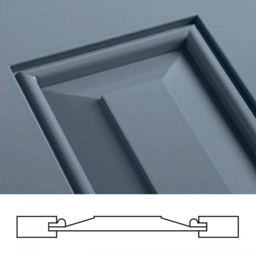 Close-up and cross-section image of blue, panel shutter profile design SH3, a shaker panel shutter.