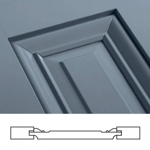 Close-up and cross-section image of blue, panel shutter profile design UB1, a raised panel shutter.
