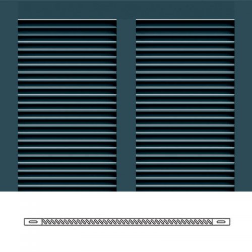 Close-up and cross-section images of blue Bermuda shutter profile design BS1S, a fixed louver Bermuda shutter.