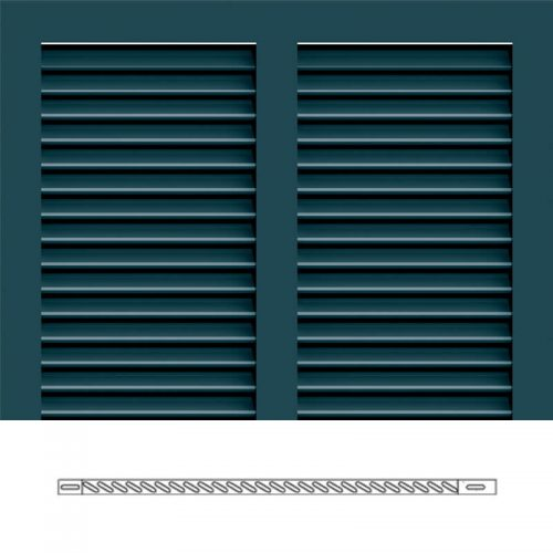 Close-up and cross-section images of blue Bermuda shutter profile design BS2, a 2 section Bermuda shutter.