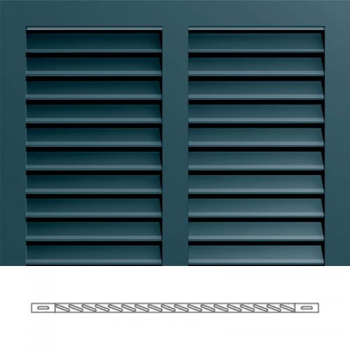 Close-up and cross-section images of blue Bermuda shutter profile design BS3S, a 2 section Bermuda shutter.
