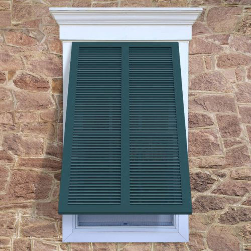 Window with blue Bermuda shutter, BS1S with fixed louvers.