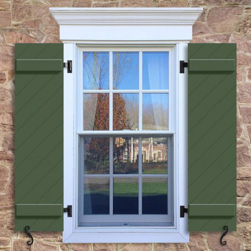 Window with green Board and Batten shutter, BBCD diagonal groove board and batten Shutter.