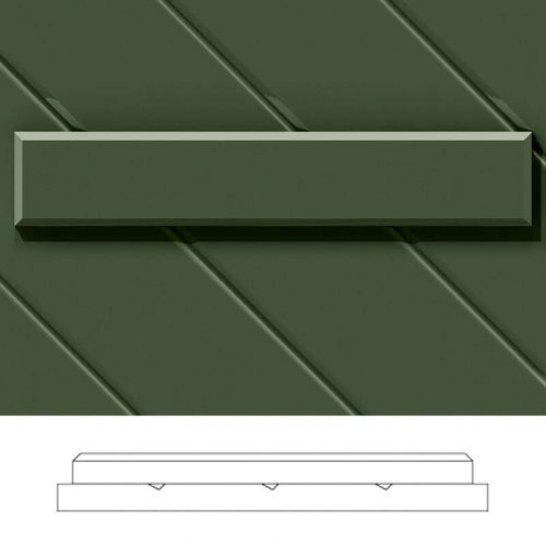 Close-up and cross-section images of green board and batten shutter profile design BBCD, a diagonal groove style board and batten shutter.