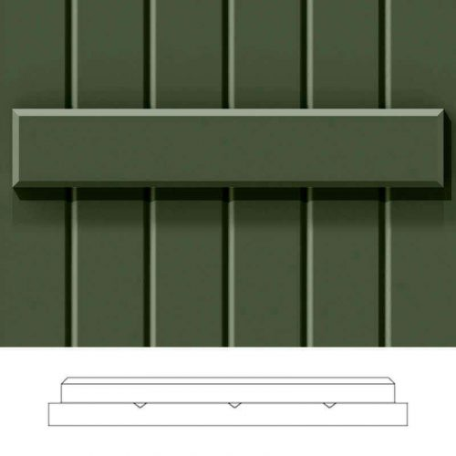 Close-up and cross-section images of green board and batten shutter profile design BBCV, a closed groove style board and batten shutter.