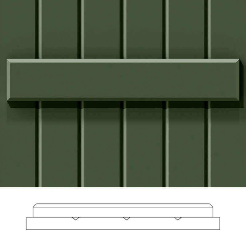 Close Up And Cross Section Images Of Green Board And Batten Shutter Profile  Design