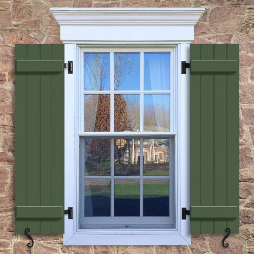 Window with green Board and Batten shutter, BBP1 closed boards Philadelphia Style board and batten Shutter.
