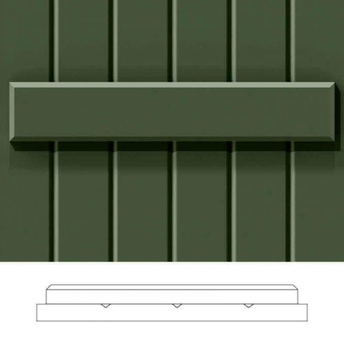 Close-up and cross-section images of green board and batten shutter profile design FUB, a wood composite closed board and batten shutter.