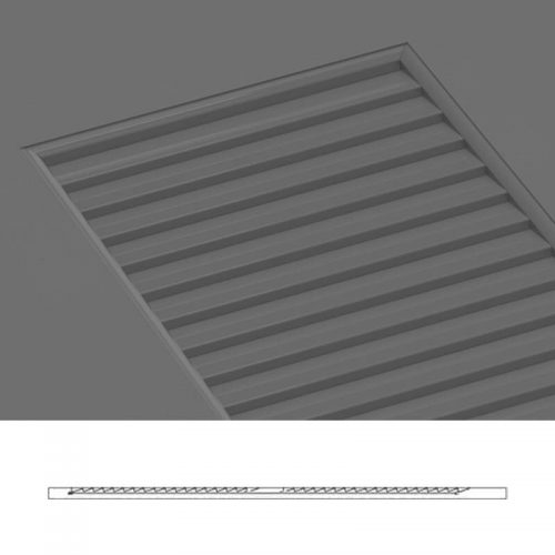 Close-up and cross-section images of brown louver shutter profile design FUL, a faux louver shutter.