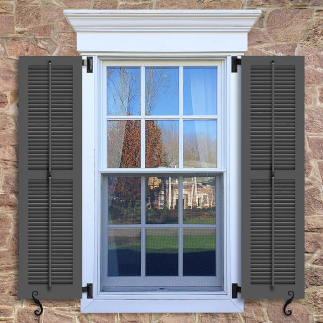 Window With Brown Shutters In A 1002 Configuration, 2 Panels, LBO, Operable  Louvers