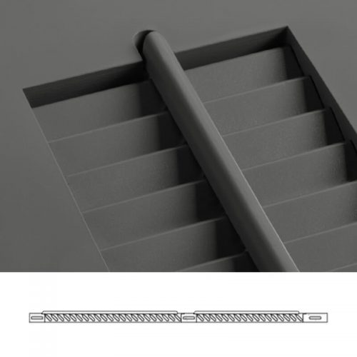 Close-up and cross-section images of brown louver shutter profile design LBO, an operable louver shutter.