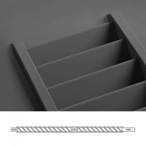 Close-up and cross-section images of brown louver shutter profile design NE1, a fixed louver shutter.