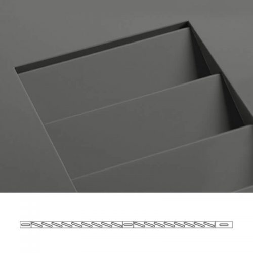Close-up and cross-section images of brown louver shutter profile design SW1, a fixed louver shutter.