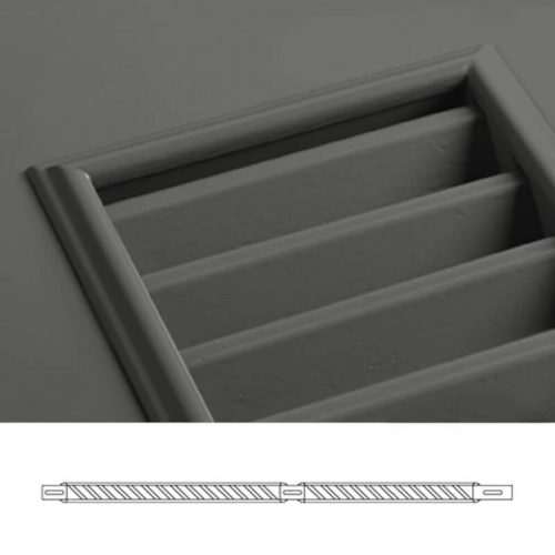 Close-up and cross-section images of brown louver shutter profile design TR1, a fixed louver shutter.