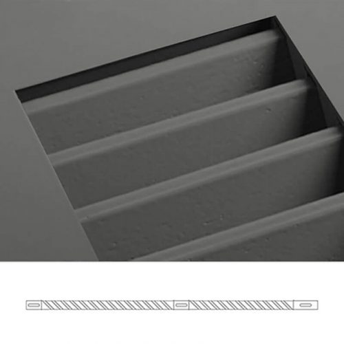 Close-up and cross-section image of gray shutter profile design TR2, a fixed louver shutter.