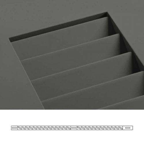 Close-up and cross-section images of brown louver shutter profile design WL1, a fixed louver shutter.