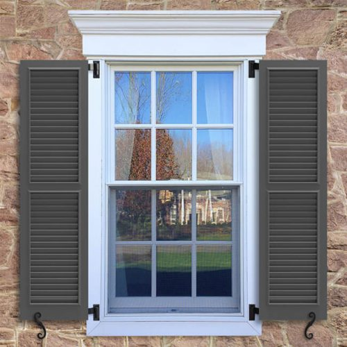 Window with brown shutters in a 1002 configuration, 2 panels, WL2, fixed louvers with 50/50 layout.