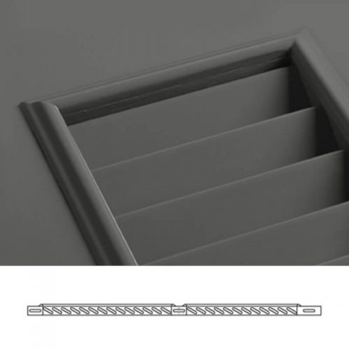 Close-up and cross-section images of brown louver shutter profile design WL2, a fixed louver shutter.
