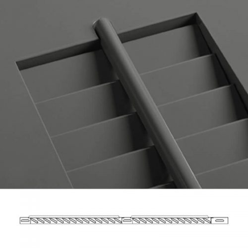 Close-up and cross-section images of brown louver shutter profile design WLO, an operable louver shutter.