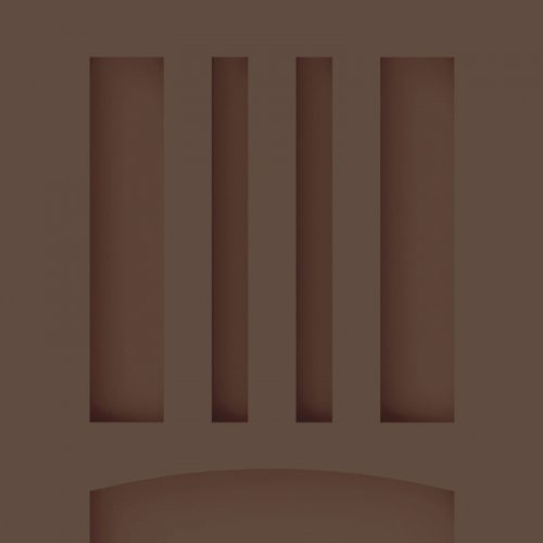 Close-up and cross-section images of brown mission style shutter profile design M1, a Mission style shutter.
