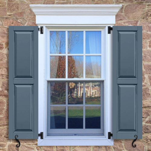 Window with blue shutters in a 1002 configuration, 2 panels, FUP, raised panels with 50/50 layout.