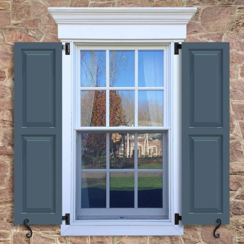 Window with blue shutters in a 1002 configuration, 2 panels, CT1, colonial trim panels with 50/50 layout.