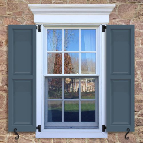 Window with blue shutters in a 1002 configuration, 2 panels, CT2, colonial trim panels with 50/50 layout.