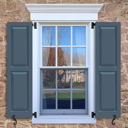 Window with blue shutters in a 1002 configuration, 2 panels, SH2, shaker panels with 50/50 layout.