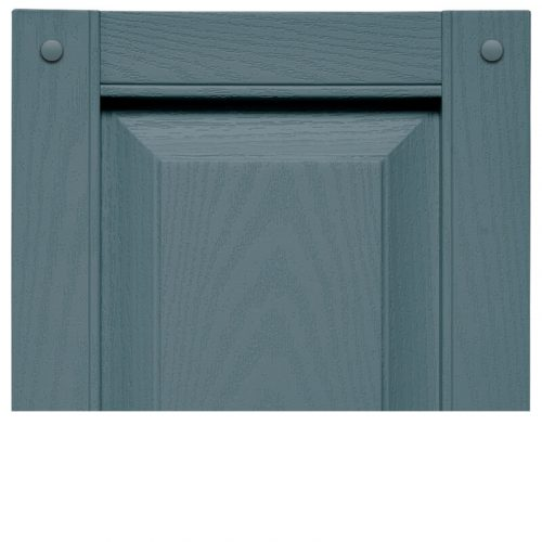 Close-up image of blue, Vinyl Cottage Panel Shutter profile design VIN RPC, a raised panel shutter.