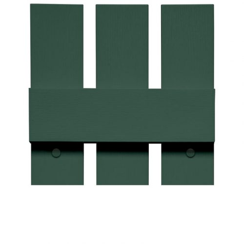 Close-up and cross-section image of green, vinyl board and batten shutter profile design BBO, a spaced board and batten shutter.