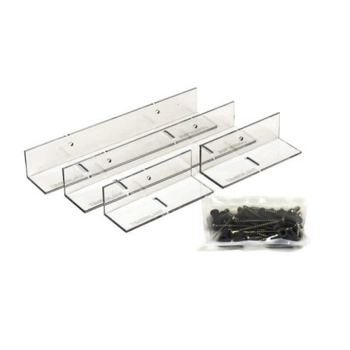 Close up of clear fixed mount shutter bracket kit that includes mounting brackets and hardware