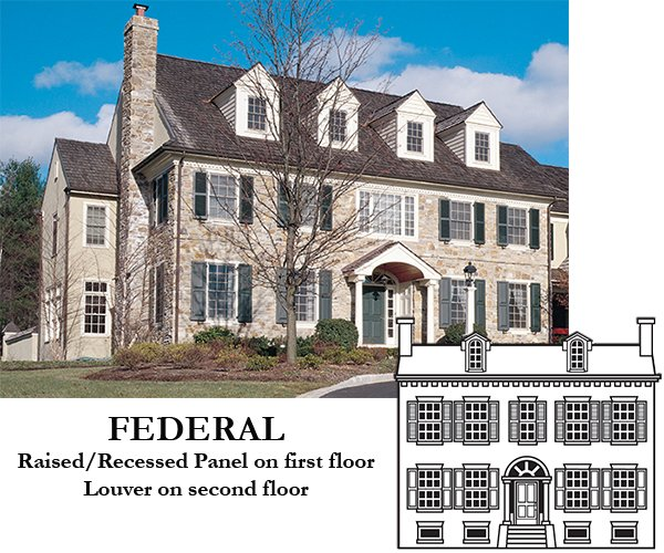Exterior shutters for federal house styles timberlane for Federal style homes