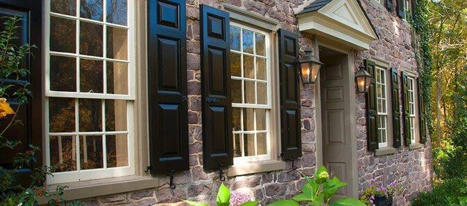 black panel shutters