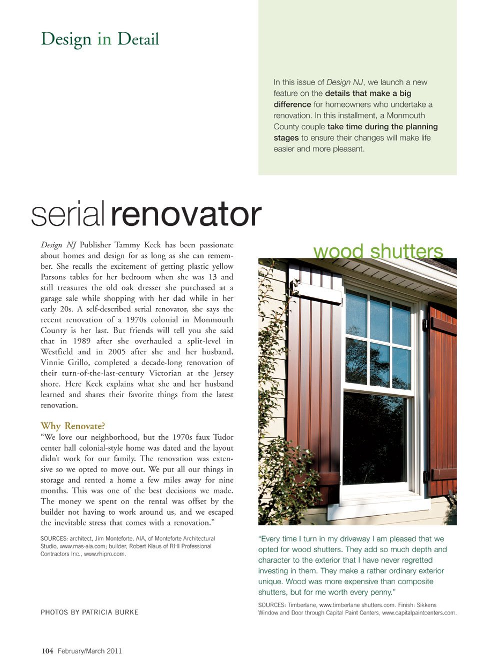 design nj feature of homeowners who undertake a renovation and how timberlane shutters made their home's exterior unique