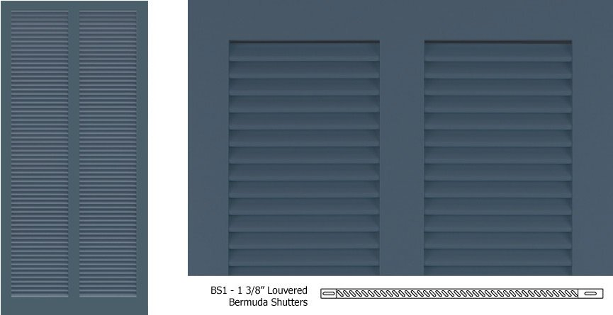 Bs1 1 3 8 louver style bermuda shutter for Bermuda style exterior shutters